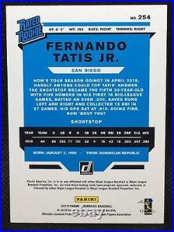 #/10! 2019 Donruss Fernando Tatis Jr RC Light Blue Rated Rookie Padres #254