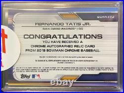 2019 Bowman Chrome Fernando Tatis Jr. Gold Refractor Patch Auto /50 Padres