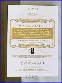 2020 Panini Flawless Fernando Tatis Patch Materials Auto Emerald # /5 Padres SSP