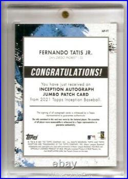 2021 Topps Inception Fernando Tatis Jr. Jumbo Patch Auto Card /75 Padres