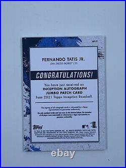 2021 Topps Inception Fernando Tatis Jr. Orange Jumbo Patch Auto /25 Padres
