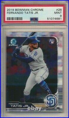 Fernando Tatis JR. RC Shortstop ROOKIE CARD 2019 Bowman Chrome #26 PSA 9 Padres