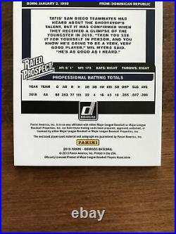 Fernando Tatis Jr. 2019 Donruss Rated Prospect Rookie Patch Auto Padres RC