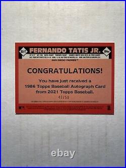 Fernando Tatis Jr 2021 Topps 1986 35th GOLD AUTO /50 #86A-FT San Diego Padres