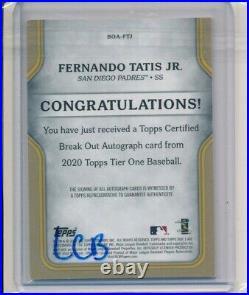 Fernando Tatis Jr Padres 2020 Topps Tier One Break Out Auto 146/150