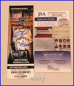 Fernando Tatis Jr Signed Mlb Debut Mint Padre Season Ticket Stub 3/28/19 JSA COA