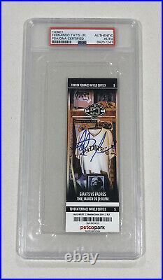 Fernando Tatis Jr Signed Mlb Debut Mint Padres Season Ticket Stub 3/28 PSA COA